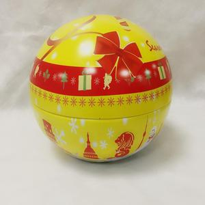 High Quality Decoration big metal ball with stand Christmas gift tin ball for candy