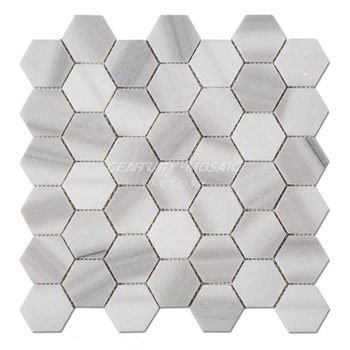 Hot Selling Marmara White 2 Inches Natural Stone Hexagon Marble Mosaic