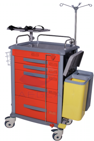 AG-ET018 well-received hospital crash cart first aid medical emergency trolley with oxygen tank holder