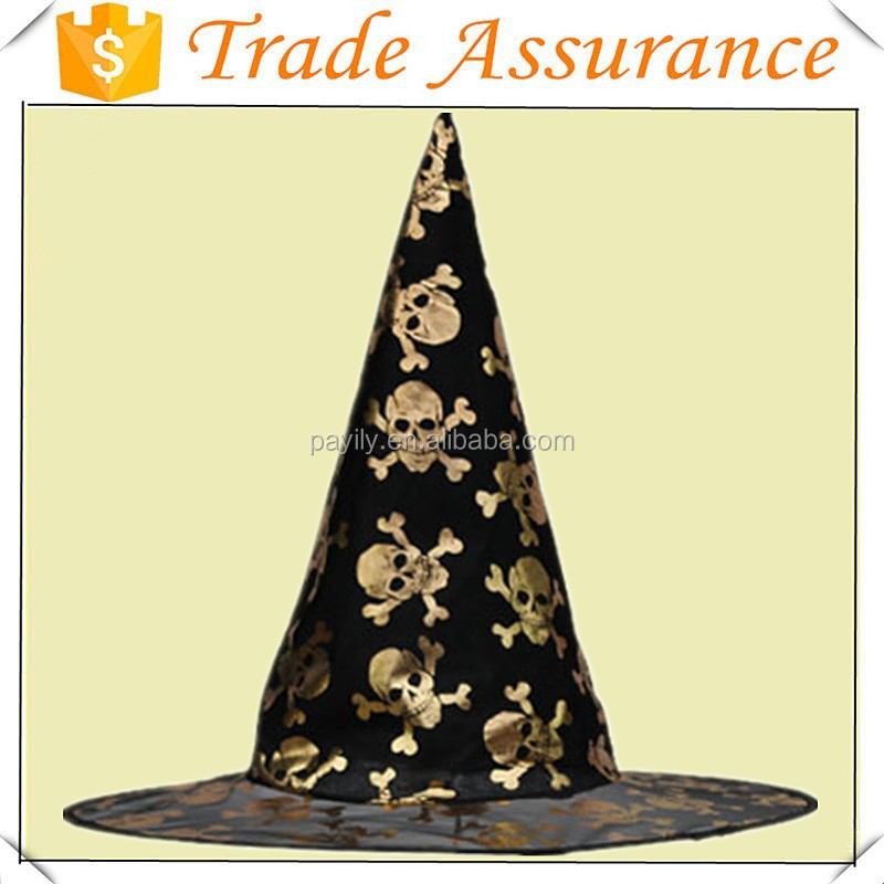 Wholesale Fashion Gold Gauze Halloween Witch Hat with Star, Pumpkin, Cat, skull Witch and Bat