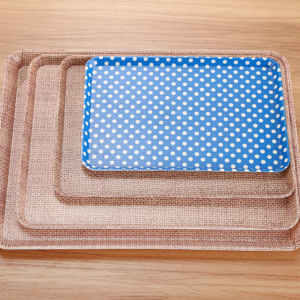 Hot Sale rectangular hard plastic wooden manufacture plastic serving tray