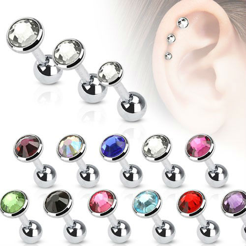 Surgical steel jeweled tragus ear piercing with handschellen