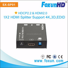 HDMI 2.0 Splitter 1 In 2 Out 2-Port Amplifier with HDCP 2.2, 4K at 60Hz (2160P), 3D, 1080P Support with EDID Control