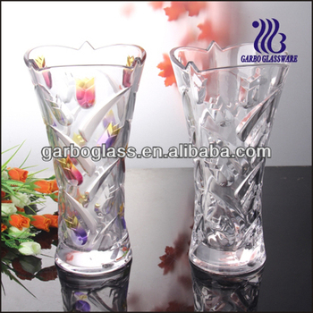 nice home decoration glass vase with leaf design