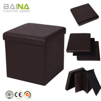 multifunctional handmade luxury MDF wooden PU leather folding storage ottoman