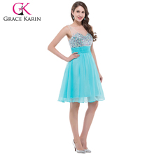 Sexy Deep V-Neck Short Grace Karin Cocktail Dress 2015 Women Shining Beaded Sleeveless Cocktail Dresses CL7507-2#