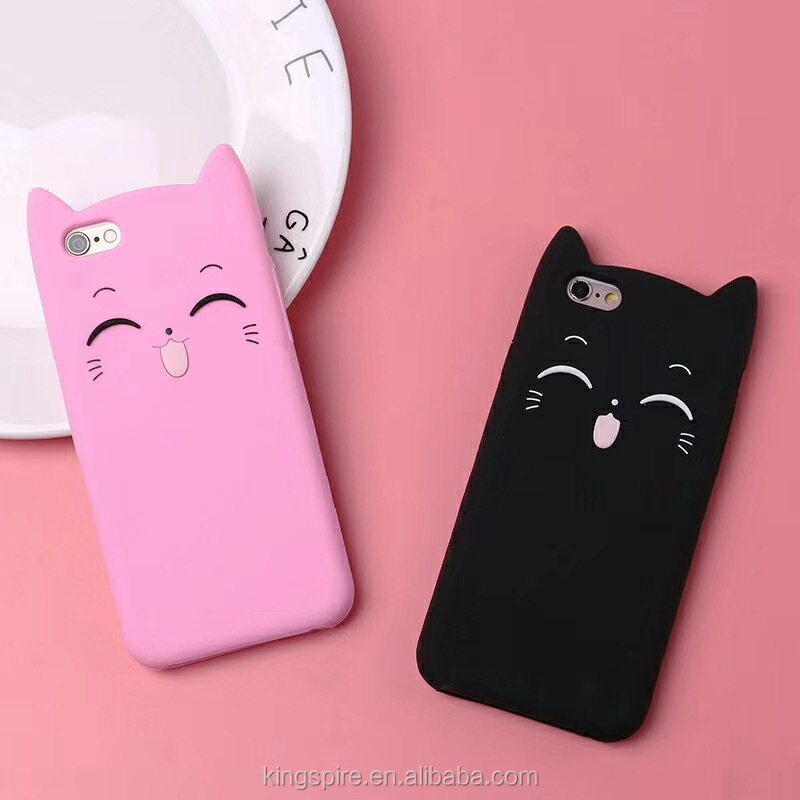 Hot Selling Cat Silicone Cartoon Cell Phone Case For <strong>iPhone</strong> X 8 7 6 Plus