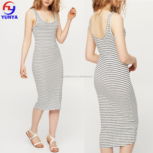 2017 New summer ladies casual bodycon stripe cotton long vest dress