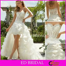 ML6752 Sexy See Through Front Short and Long Back Organza Beaded Applique for Woman Wedding Party Dress