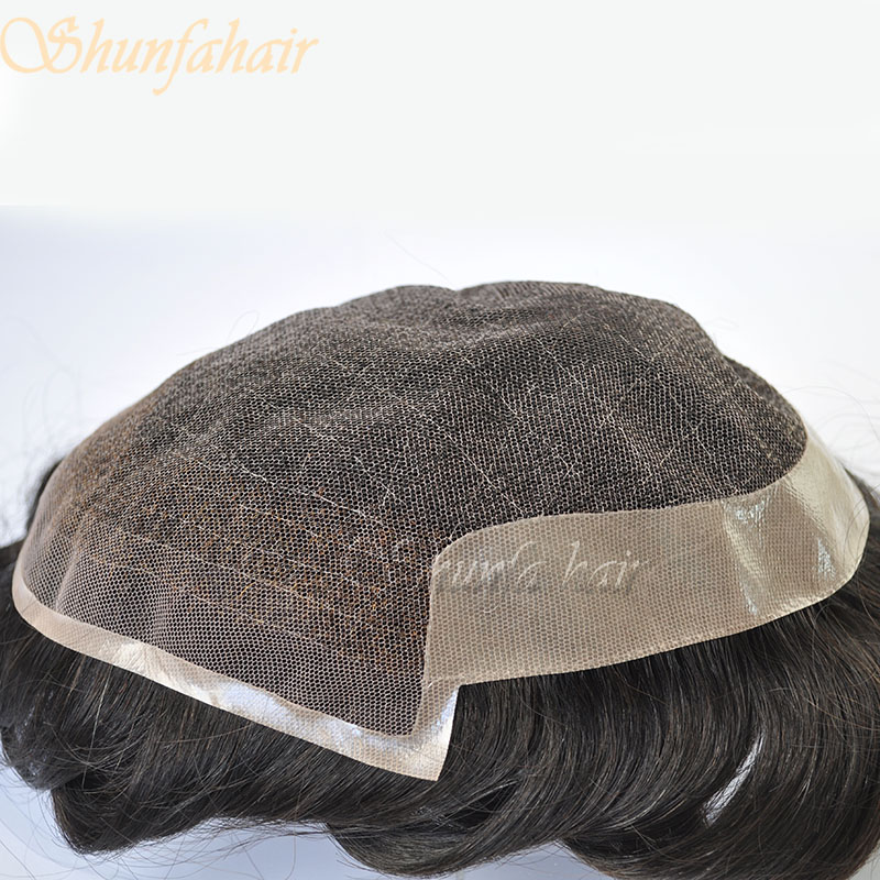 Men's stock toupee with natural hairline and bleached not in front in lace with poly coating base