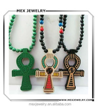Fashion ankh Egyptian Power of Life Good Wood Hip Hop wood Necklace