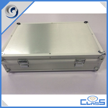 custom professional high quality real aluminum plate surface silver Aluminum box laptop case tools case tools box