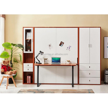 Pull down twin wall bed murphy bed with desk and bookcase