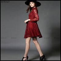 New arrival sexy design long sleeve women red lace dress designs ladies young fashion clothing women