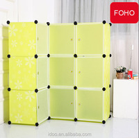 Easy assemble living room furniture storage cube with door pp plastic corner cabinet FH-AL0036-9