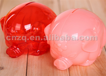 Custom-made newest Transparent Pig Plastic Coin Bank for Sale