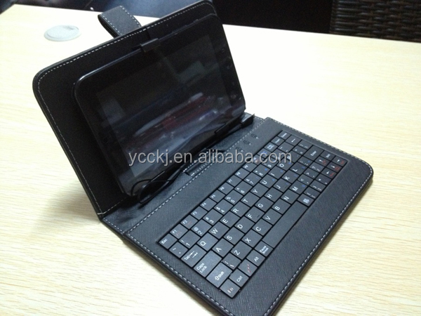 "8 inch Universal Tablet PC Leather Case tablet keyboard case with Keyboard/Holde Stylus for 8"" Tablet PC (Micro USB keyboard)"
