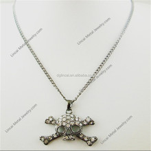 Alloy black color rhinestone crystal skull pendant necklace
