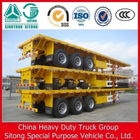 3 axle 40feet 12500mm flatbed container semi trailer