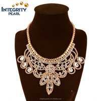 America and Europe pop brief paragraph beaded golden alloy heavy necklace chokers