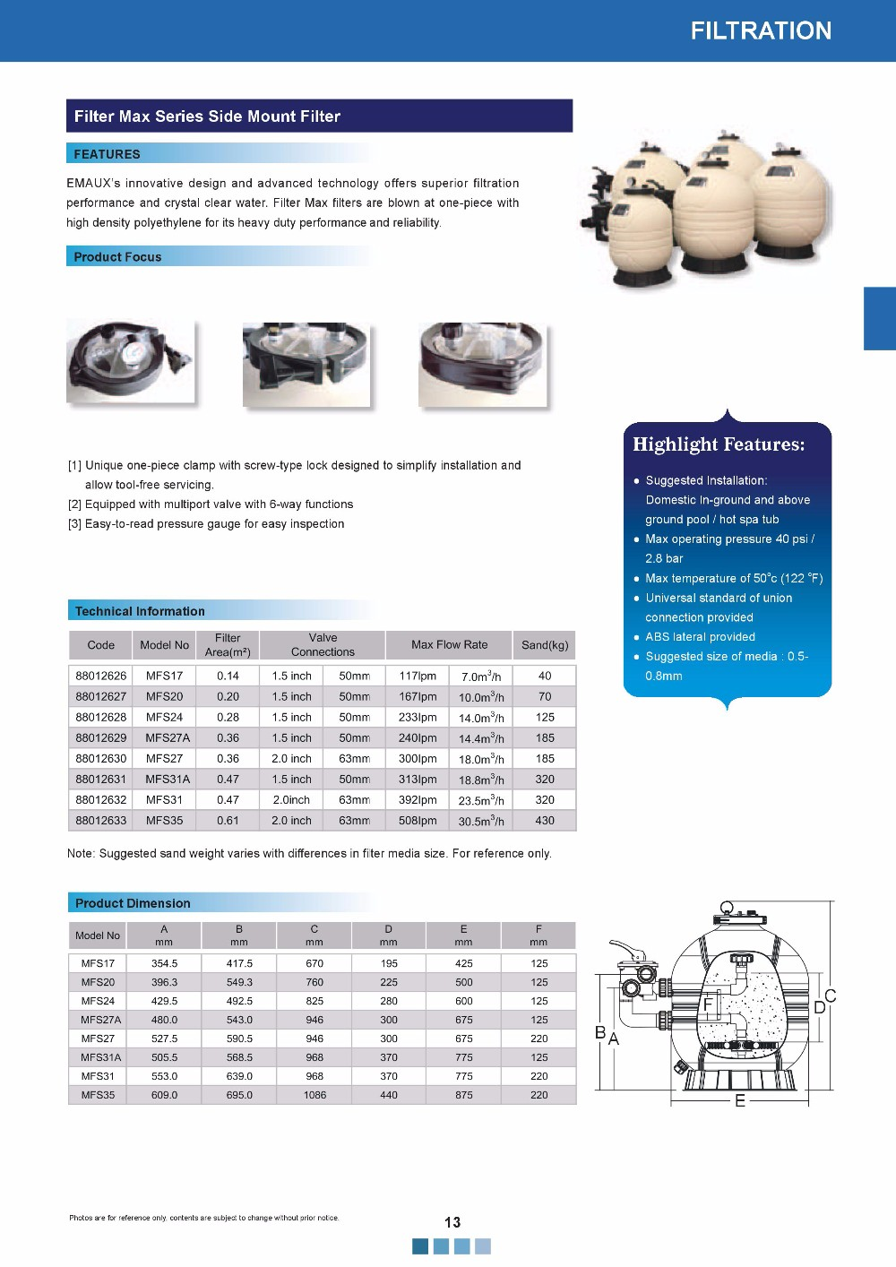 Activated silica sand water filter for swimming pool
