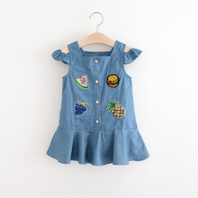 Fashion Design New Model Small Girl's Sleeveless Summer Denim Dress