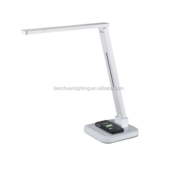 Bedroom furniture reading home QI wireless table lamp led with USB working lamp four CCT five level brightness auto off timer