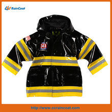 Wholesale black kids pu coated nylon raincoat
