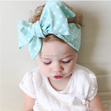 Hot Sale Fancy 100% Cotton Cute Baby Girls Fabric Flower Hair Accessories Big Bow Knot <strong>Headbands</strong>