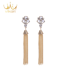 Salable latest model fashion long chain earrings
