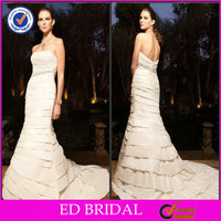 Special Design Off Shoulder Pleat Crystal Red And Cream Wedding Dresses(ED-S231)