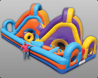 Inflatable bouncy slide with entrance tunnel for kids play