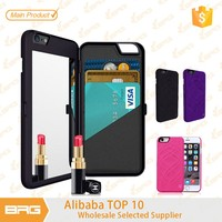 BRG Stylish Chic Hard PC Flip Cover case for iphone 6 mirror case with credit card holders