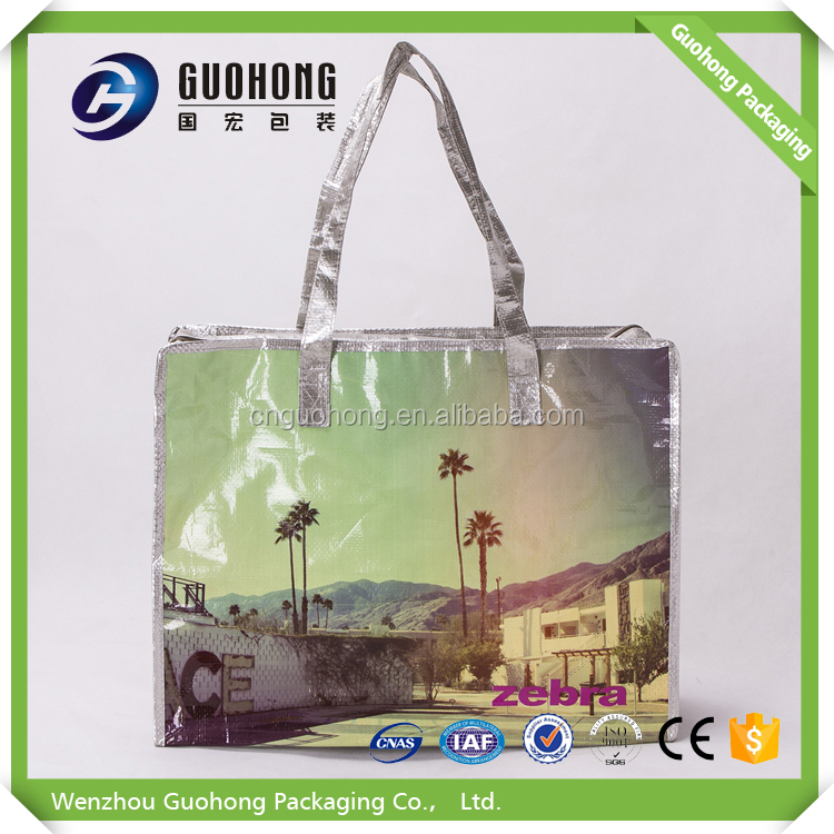 Promotional PP woven large zipper shopping bag/full printing pp woven zipper tote bag