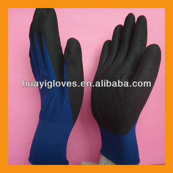 Nylon Nitrile Coated Rough Finished Gloves HYH227