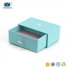 Tiffany Blue color wholesale custom printing small sliding gift boxes with ribbon pull