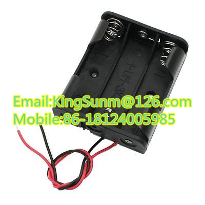 Plastic Battery Storage Case Box Holder For 3 X AA 3xAA 4.5V with wire lead