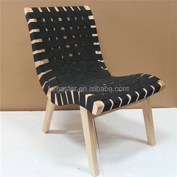 Replica European style side chair with ottoman solid wood relaxing Risom lounge chair