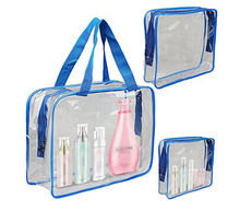 Dongguan clear vinyl pvc zipper gift tote bags with handles