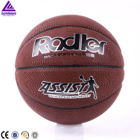 Cheap promotional standard new training brown shiny PVC laminated assist basketball