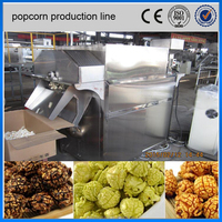 Fully automatic commercial savory and caramel popcorn processing line