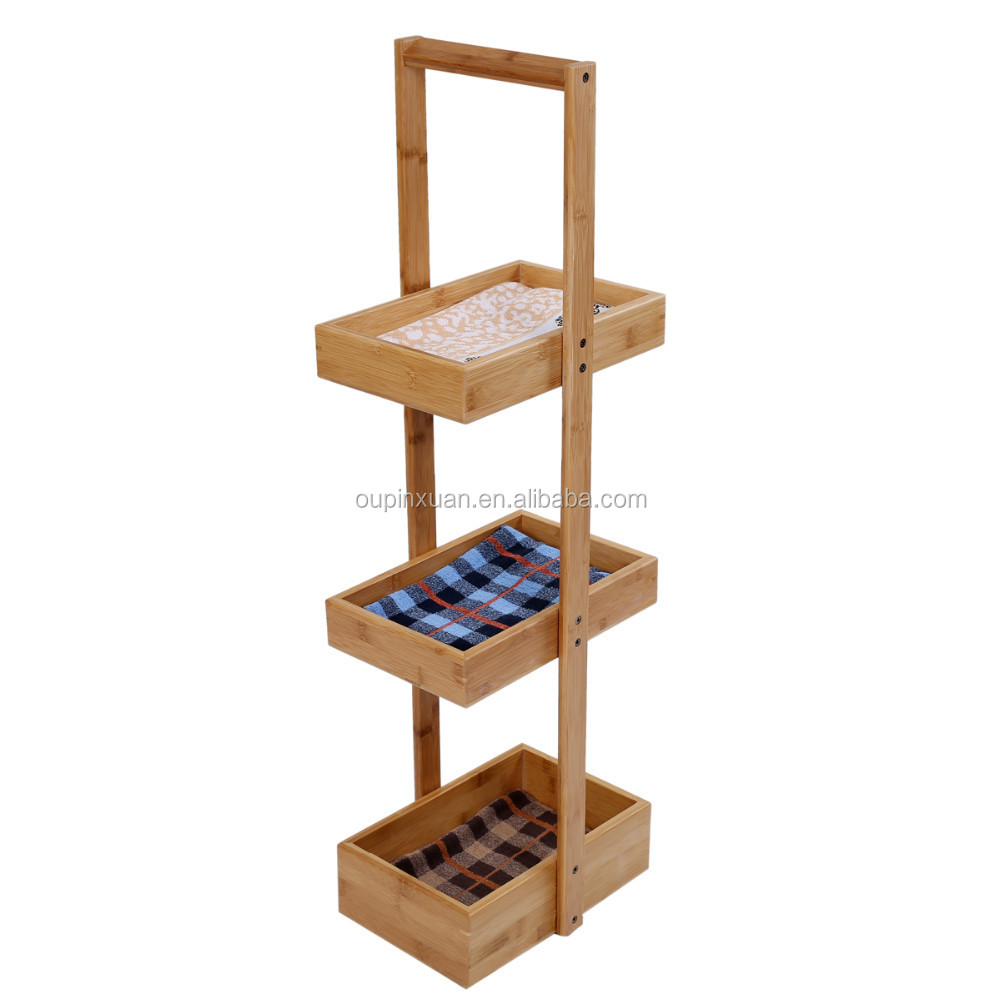 2015 high quality new products wood bamboo 3 tier bathroom towel shelf bathroom towel rack wholesale