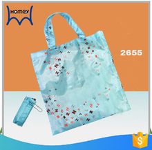 Custom polyester recyling flower reusable environment-friendly folding nylon shopping bags in poly bag