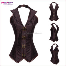 China Supplier Brown Halter Neck Steampunk Waist Trainer Training Corsets