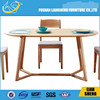 Metal base wood dining table designs table top in wood DT007