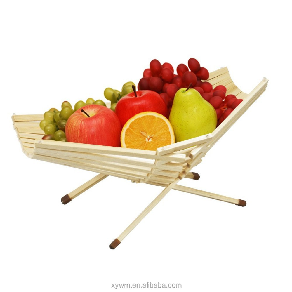 Fruit Basket Bowl Chef Collection Foldable Bamboo 100% Eco-Friendly Produce New