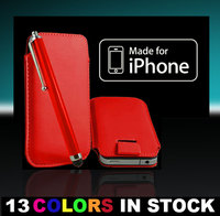 New Leather Case Cover Pouch Sleeve for iPhone 4 4G 3G 3GS Color Red Color