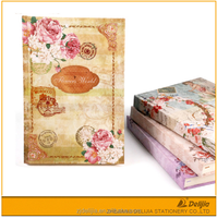 Wolesale hardcover design girl leather flower notebook