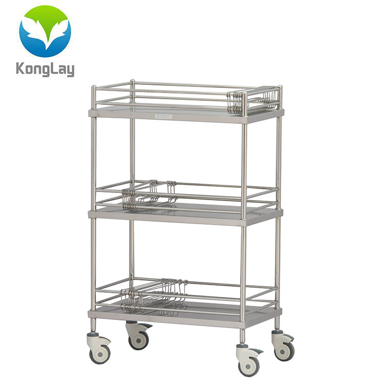 Good quality hospital ues stainless steel emergency trolley equipment rolling medical cart