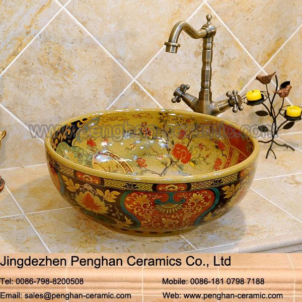 Chinese small corner bathroom sink ceramic art wash basin korea